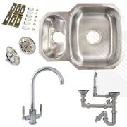 Premium Undermount Stainless Steel Kitchen Sink | Reversible 1.5 Bowl | Dual Lever Kitchen Tap Pack + Pipework